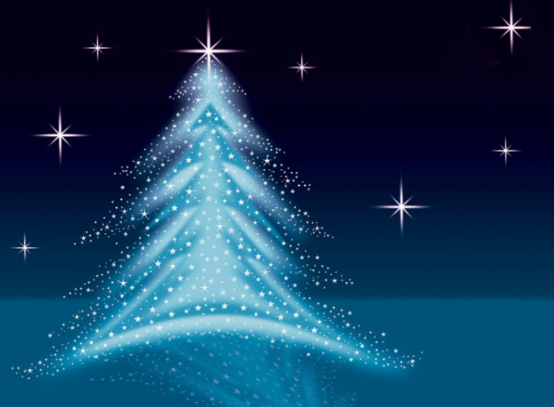 Christmas Tree Illustration - Blue